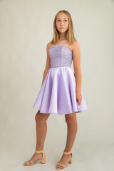 Junior Girls Lilac Sequin and Satin Party Dress.