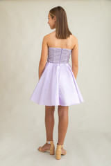 Junior Girls Lilac Sequin and Satin Party Dress back.