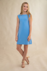 Tween Girls Baby Blue Boat Neck Dress in Longer Length.