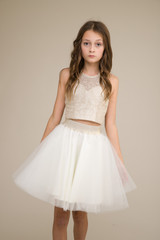 Ivory Sequin Halter Top with Knot Back.
