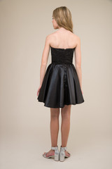 Junior Girls Sequin and Satin Party Dress in Black back.