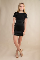 Short Sleeve Textured Panel Fitted Dress in Longer Length.