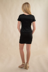 Short Sleeve Textured Panel Fitted Dress in Longer Length back.