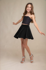 Stripe Glitter Bustier with Skater Skirt