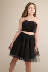 Velvet Glitter Bustier with Lace Up Back.