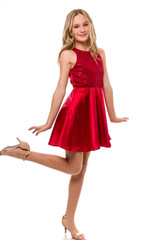 Sequin and Satin Racer Back Party Dress in Ruby Red