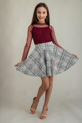 Burgundy Mesh Top with Tweed Skater Skirt in Longer Length