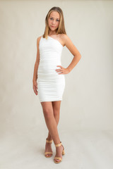 Ivory One Shoulder Dress in Longer Length.