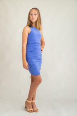 Periwinkle One Shoulder Dress in Longer Length.