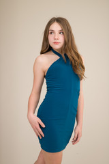 Teal Halter Dress in Longer Length.