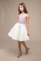 High Neck Pink Glitter and Satin Party Dress with Belt