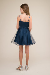 Short Satin and Tulle Dress in Navy back.