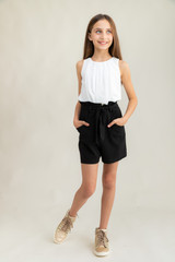 Chiffon A Line Top in White