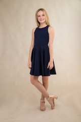 Navy Texture Racer Back Dress in Longer Length.
