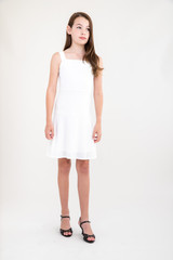 Ivory Skater Dress in Longer Length.