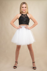 Black Sequin Halter Top with White Tulle Skirt Set.
