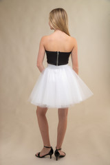 Black Zipper Back Top with White Tulle Skirt Set back.
