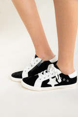 Low Top Black and White Star Sneakers