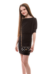 Dolman Sleeve Fitted Dress in Black.