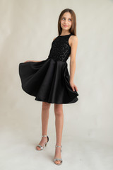 Black Sequin Lace Racer Back Dress in Longer Length.
