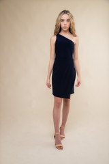 Navy One Shoulder Wrap Dress in Longer Length.