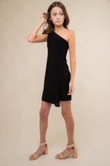 Black One Shoulder Wrap Dress in Longer Length.