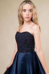 Tween Curve Navy Glitter Lace and Satin Party Dress.