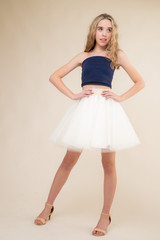 Navy Strapless Top and Tulle Skirt Set.