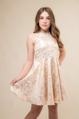 Gold Jacquard Racer Back Dress in Longer Length close.