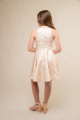 Gold Jacquard Racer Back Dress in Longer Length back.