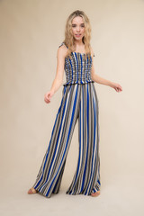 Stripe Smocked Jumpsuit with Knotted Straps.