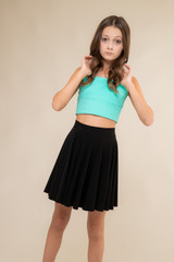 Mint Strapless Top and Black Skater Skirt Set.