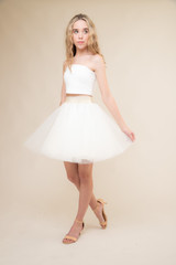 Ivory Strapless Top and Ivory Tulle Skirt Set.