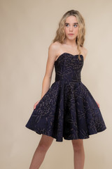 Navy and Gold Floral Jacquard Party Dress.