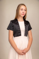 Satin Bolero Jacket in Black.