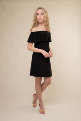 Black Off the Shoulder Dress in Longer Length.