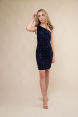 Navy Sequin Lace One Shoulder Dress in Longer Length.