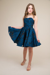 Cobalt and Black Jacquard Party Dress.