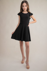 Black Flutter Sleeve Dress in Longer Length.