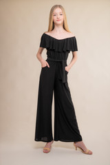 Black Flutter Sleeve Jumpsuit with Knot Belt.