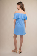 Baby Blue Off the Shoulder Tiered Dress back.