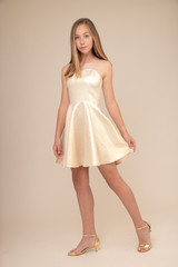 Gold Glitter Jacquard Party Dress in Longer Length.
