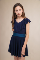 Navy Flutter Sleeve Top and Skirt Set with Belt.