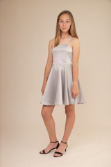 Silver Satin Party Dress in Longer Length.