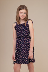 Navy Floral Smocked Sundress in Longer Length.