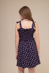 Navy Floral Smocked Sundress in Longer Length back.