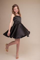 Black Satin Party Dress in Longer Length.