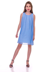 Chiffon A Line Dress in Light Blue.