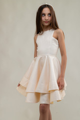 Gold Quilted Tiered Dress in Longer Length with Matching Mask