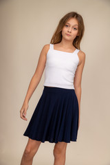 Navy Skater Skirt in Longer Length.